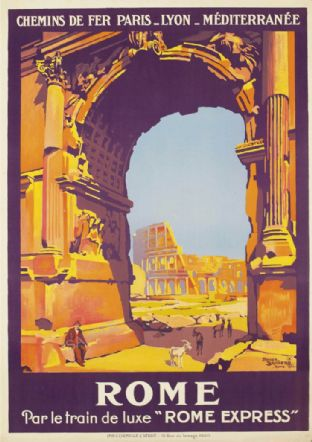 Rome - Colosseum  Rail Travel Poster